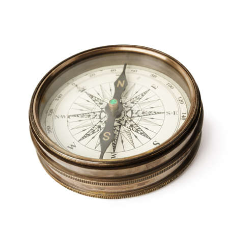 est: compass isolated on white background, selective focus on S Stock Photo