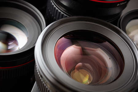 video camera: lens in closeup Stock Photo