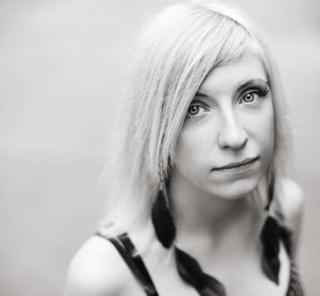 black and white portrait with soft natural light,selective focus on eyes photo
