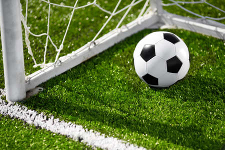 Soccer ball and goal net Stock Photo - 14322698