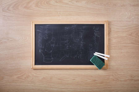 concept images: chalk and chalk eraser with the dirty blackboard Stock Photo