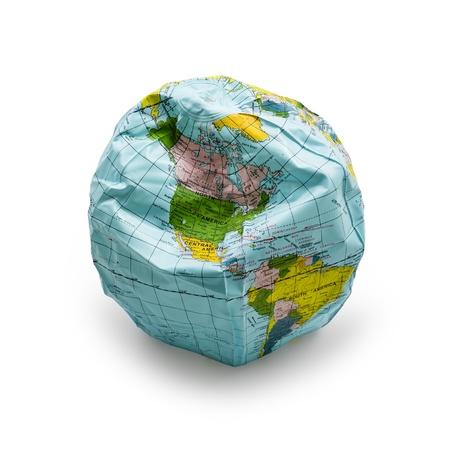 デフレート地球ソフト シャドウと白い背景で隔離