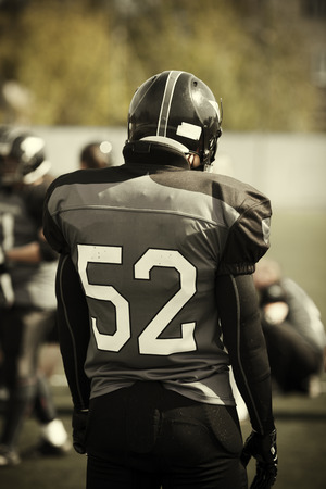 American Football, selective focus on nearest part of man