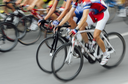 Bicycle Race in blurred motion 스톡 콘텐츠