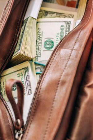 Leather bag with paper money, selective focus