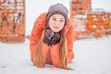 natura: portrait a girl on snow