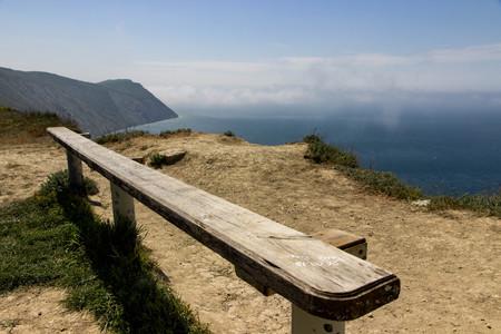 bench on the black sea Stock Photo