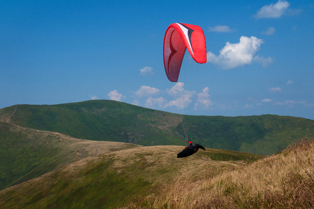 Paraglider flies over a mountain valley on a sunny summer day. Paragliding in the Carpathians in the summer.