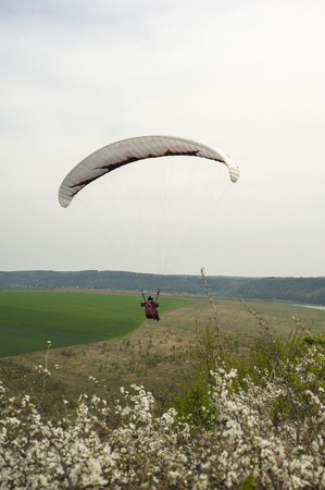 Paraglider flies over the fields and the blooming mountainside in the spring season. Paragliding over the spring fields and meadows near the Dniester River in Ukraine. Stock Photo