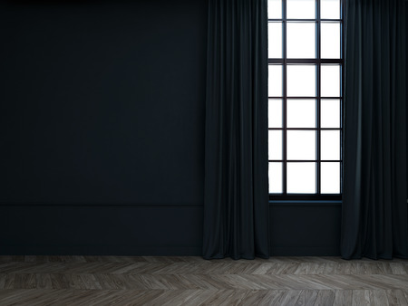 Empty room with dark curtains Banque d'images