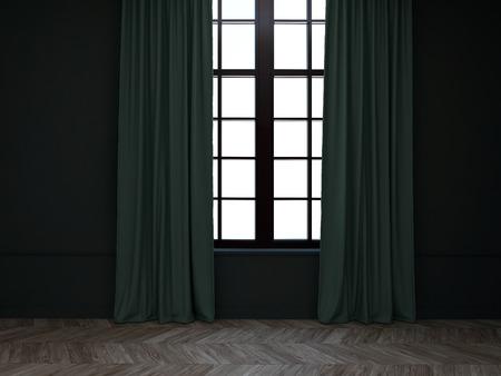 Sitio vacío con cortinas verdes Foto de archivo - 35394880
