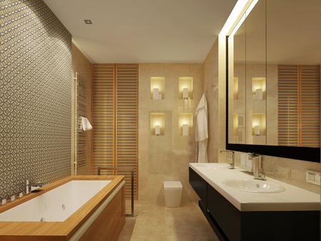 inlay: modern bathroom with mirror and bath in wood Stock Photo