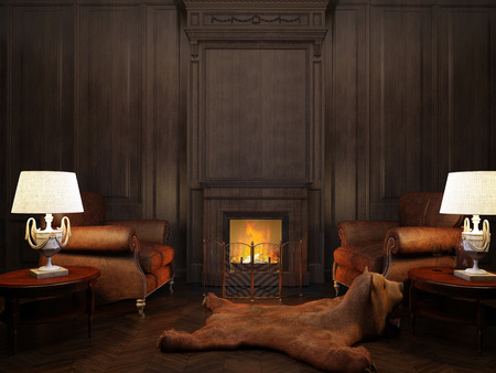 two armchairs and two lamps at the fireplace