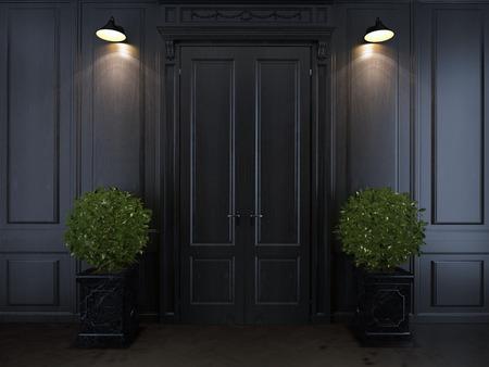 empty interior with sliding door Imagens
