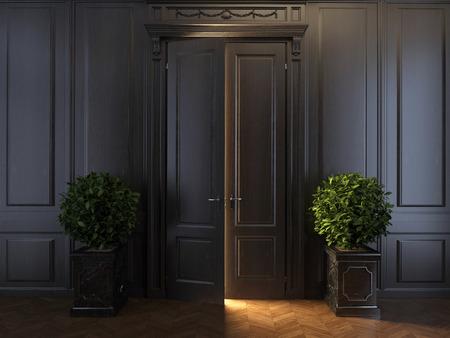 door knob: rays of light behind door