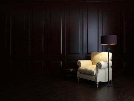 armchair and  floor lamp on wood wall Stok Fotoğraf