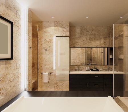 Design of modern bathroom.Soft light