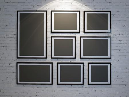 Marco en la pared de ladrillo de color blanco Foto de archivo - 35395164