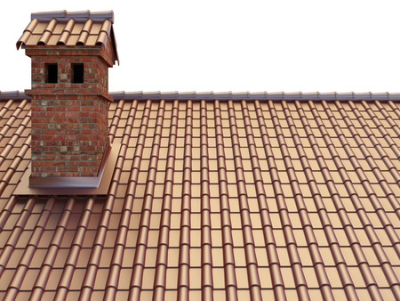 red clay tile roof and brick smoke stack Stok Fotoğraf