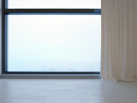 curtain on window in empty room Imagens