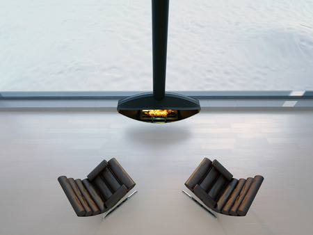 two chairs near modern fireplace