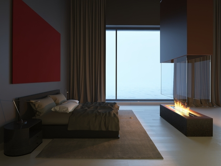 3d bedroom with fireplace