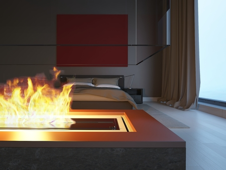 3d bedroom with fireplace photo