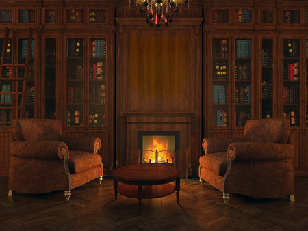 wood room: chairs and libraries around the fireplace