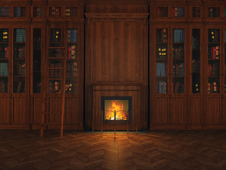 dark room: libraries around the fireplace Stock Photo