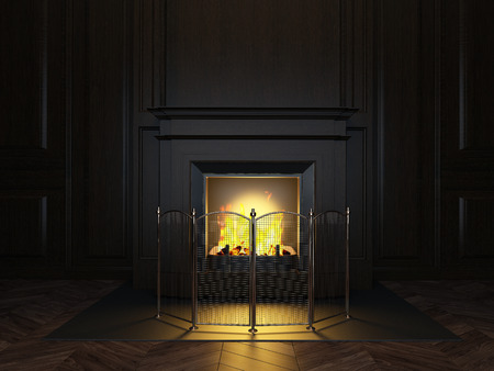 wood panels and fireplace in the room Imagens