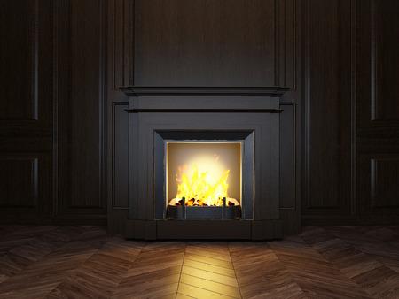 Paneles de madera y una chimenea en la sala de Foto de archivo - 35822595
