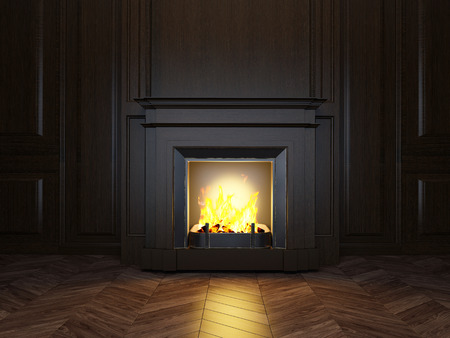 warm house: wood panels and fireplace in the room Stock Photo