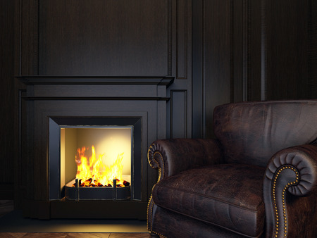 english: wood panels armchair and fireplace