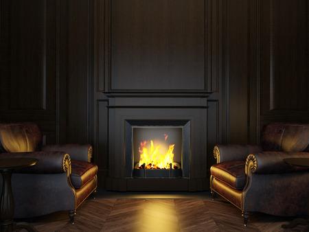 Panneaux fauteuils et cheminée Banque d'images - 35949150