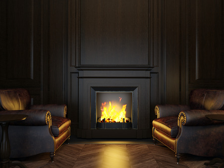checkered background: wood panels armchairs and fireplace