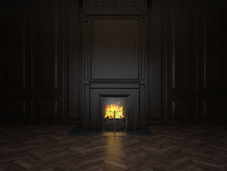 classic house: fireplace in the room panelled in wood