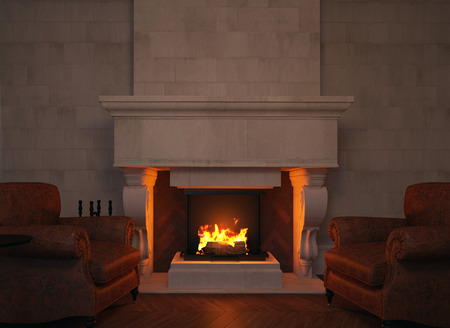 burning fireplace: 3d armchairs and fireplace