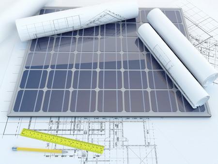 ソーラー パネルと図面 写真素材