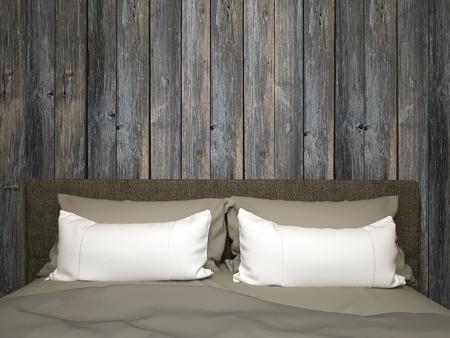 Dormitorio con una cama doble, cabecero, almohadas y madera vieja Foto de archivo - 53814208