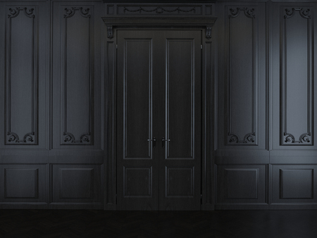 panelling: interior with dark wood panelling