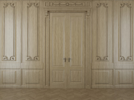 wood panelled: Wall from oak panels with a door Stock Photo