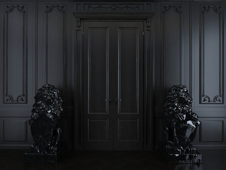 interior with dark wood panelling and sculpture Imagens