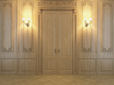 wood panelled: 3D rendering Wall from oak panels with a door and lamp