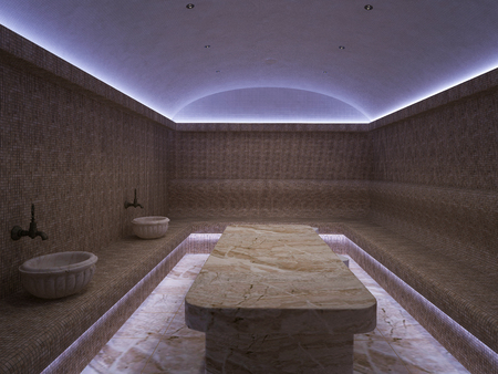 3d Interior of luxury turkish bath hammam Imagens