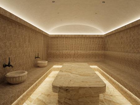 3d Interior of luxury turkish bath hammam.