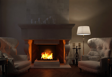 3d fireplace Lamp and chairs near a fireplace Foto de archivo - 106251685