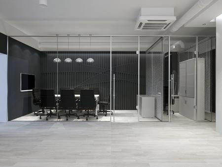 Modern office interior. Meeting room. 3D rendering. Imagens