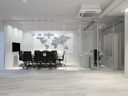 White modern office interior. Meeting room. 3D rendering.