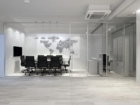 White modern office interior. Meeting room. 3D rendering. Foto de archivo - 106251712