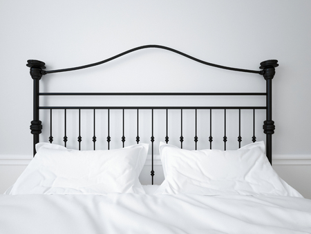 Wrought iron headboard. Double bed. 3D illustration Foto de archivo - 116776411